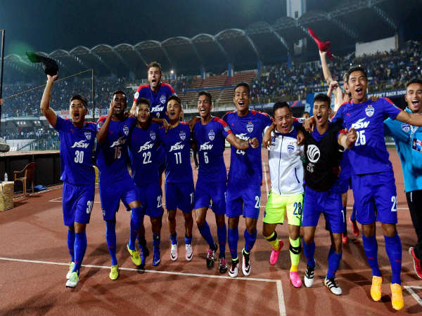 A file picture of Bengaluru FC players celebrating a win