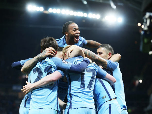 A file picture of Manchester City players celebrating