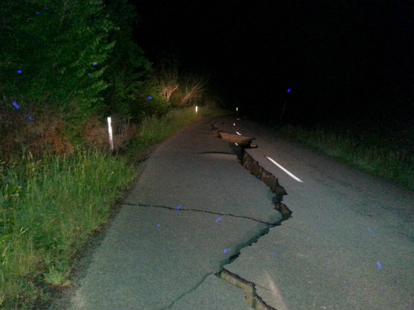 A large fissure runs along Kaikoura Road about two hours north of Christchurch Monday, November 14, after a major earthquake struck New Zealand's south Island early Monday.