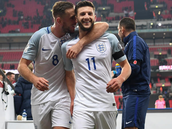 Jordan Henderson and Adam Lallana celebrate (Image courtesy: England football team Twitter handle)