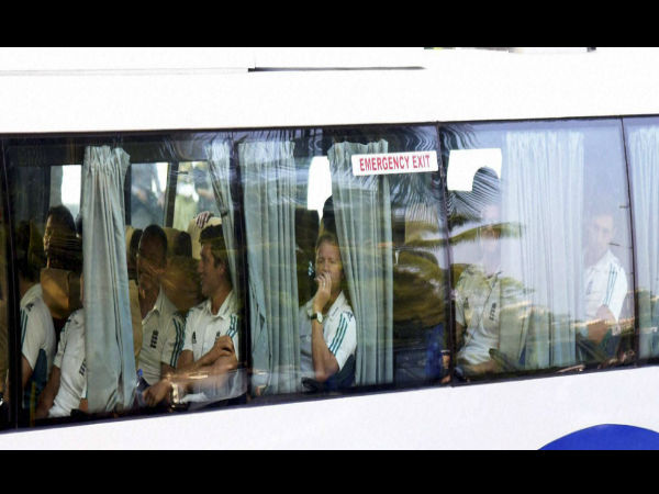 England cricket team players arrive in bus at a hotel in Mumbai on Wednesday for the forthcoming test series.