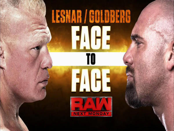 Goldberg confronts Lesnar (Image courtesy: Twitter)