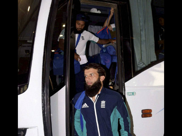 England cricket team players arrive in bus at a hotel in Mumbai on Wednesday.