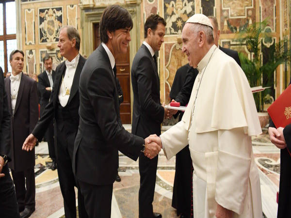 Pope (right) with Geermany coach Joachim Loew (Image courtesy: Germany Twitter handle)