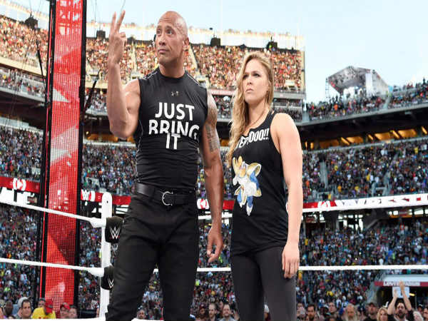 The Rock and UFC star Ronda Rousey at Wrestlemania 31 (Image courtesy: wwe)