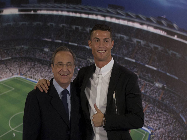 Cristiano Ronaldo (right) with Florentino Perez