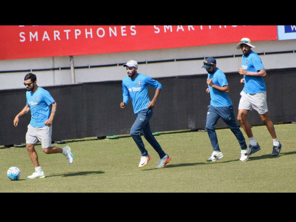 Indian cricketers play football in Rajkot ahead of the 1st Test