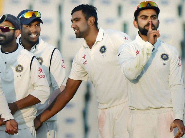 Kohli (right) puts a finger on his mouth, to silently celebrate Stokes' dismissal in a Test in Mohali in November 2016