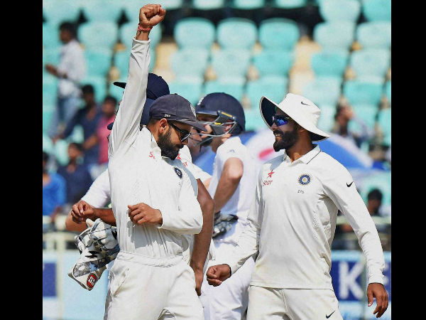 Indian players celebrate their win against England in the 2nd Test in Visakhapatnam