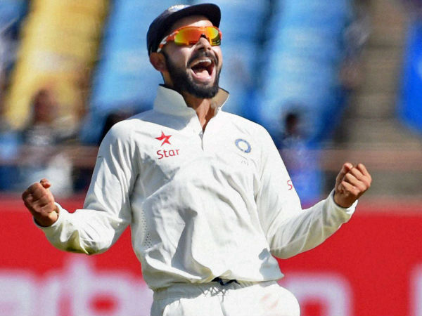 Virat Kohli can't hide his joy as he celebrates Haseeb Hameed's wicket