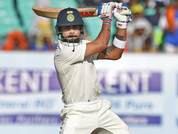 Virat Kohli plays a shot during the 1st Test against England in Rajkot