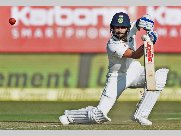 Virat Kohli plays a shot during this 40-run innings in Rajkot