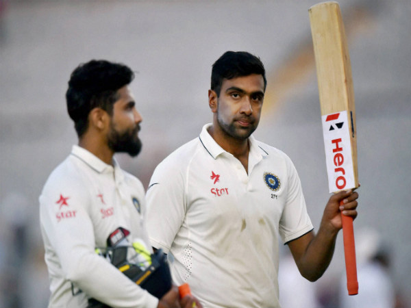 Ashwin (right) and Jadeja after the end of day's play yesterday (November 27) in Mohali during the 3rd Test