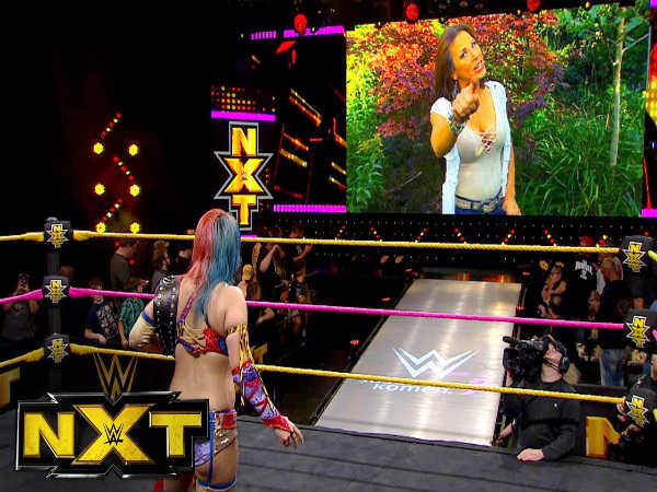 Mickie James facing Asuka on NXT (Image courtesy: Youtube)