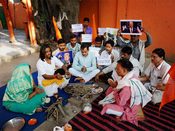 Vishwa Hindu Parishad activists perform a havan for the victory Donald Trump in the US Presidential elections, in Allahabad.