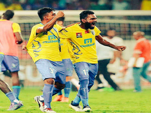 CK Vineeth (right) celebrates (Image courtesy: CK Vineeth Twitter handle)