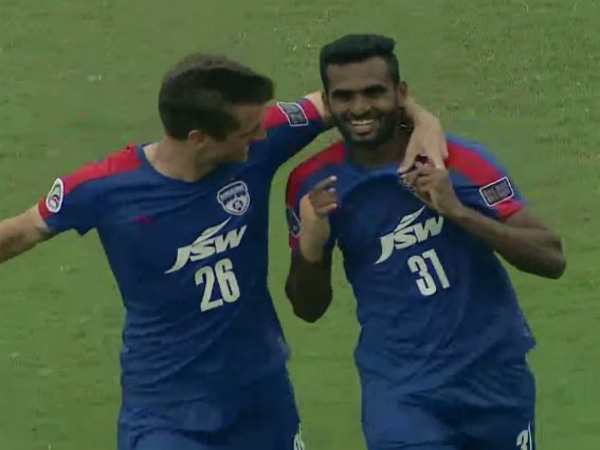 Bengaluru FC forward CK Vineeth celebrates after scoring against Tampines Rovers