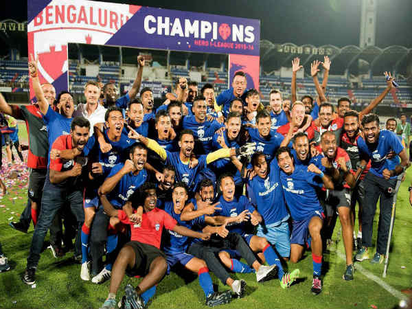 Bengaluru FC players with their second I-League title