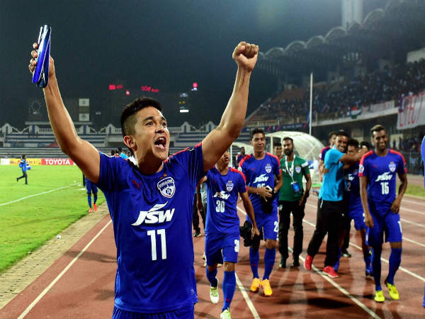 Sunil Chhetri celebrates with teammates after reaching the AFC Cup final