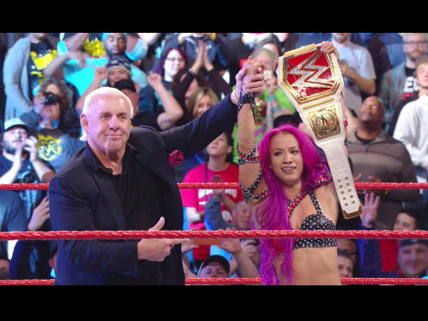 Ric Flair appeared after Sasha's title win (image courtesy WWE.com)