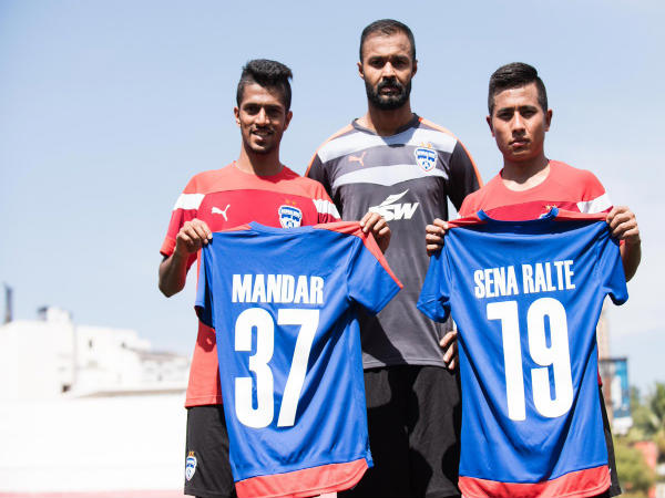 From left: Mandar Rao Desai, Arindam Bhattacharya and Sena Ralte (Image courtesy: Bengaluru FC Twitter handle)