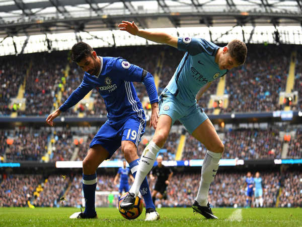 Diego Costa (left) goes past John Stones (Image courtesy: Chelsea Twitter handle)