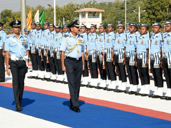 Indian Air Force soldiers march past during Air Force day