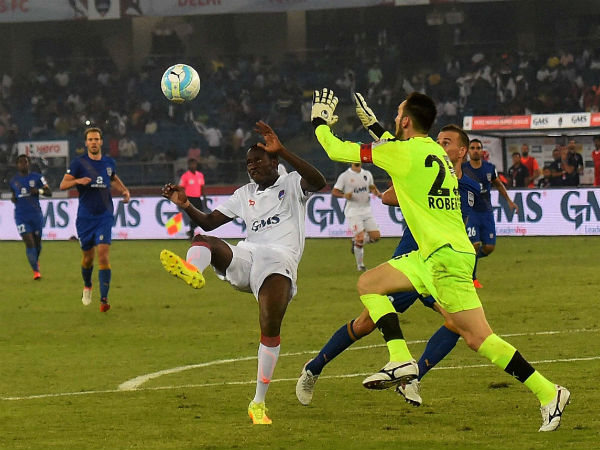 Mumbai City FC and Delhi Dynamos FC (white Jersy) players in action during Hero Indian Super League match in New Delhi.