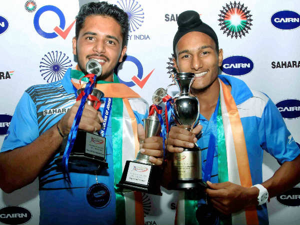 File photo: Harmanpreet Singh (left) with India junior captain Harjeet Singh. Both were part of the Junior World Cup winning team recently