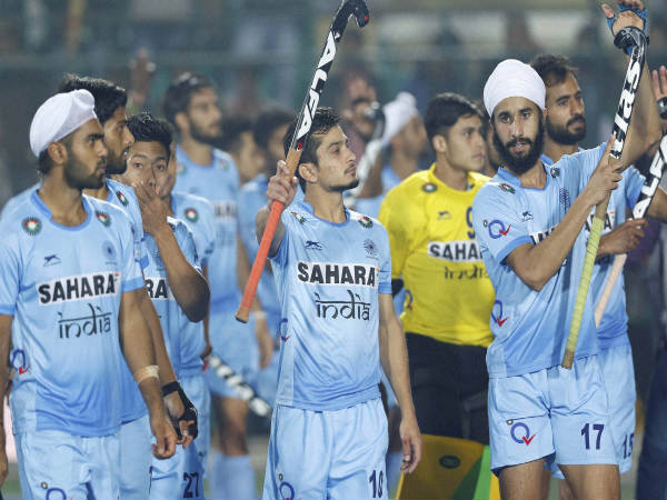 Indian junior Hockey palyers celebrate