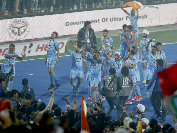 Ecstatic Indian players after the triumph