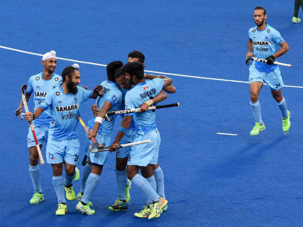 Indian Hockey team players celebrate a goal against Pakistan during the Sultan Azlan Shah Cup Hockey tournament
