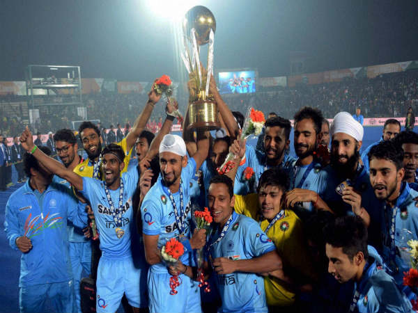 Indian Junior hockey players celebrate after winning World Cup