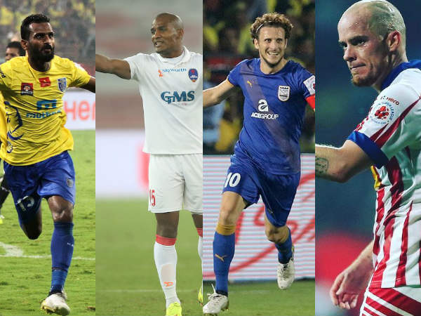 From left: CK Vineeth, Florent Malouda, Diego Forlan, Iain Hume (Images courtesy: ISL Twitter handle)