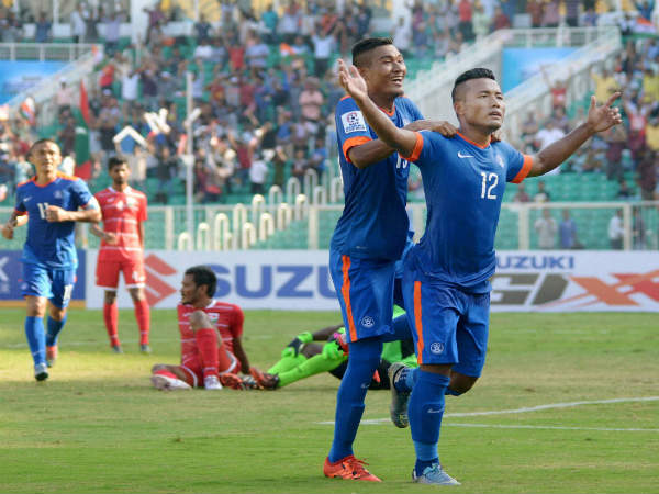 Jeje Lalpekhlua celebrates after scoring