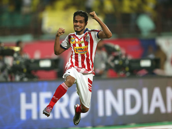 Jewel Raja Shaikh of Atletico de Kolkata celebrates after scoring the winning shot during penalty shootout against Kerala Blasters FC in Kochi.