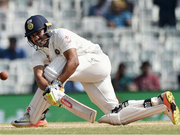Karun Nair managed only 14 runs. This was his first game after scoring a triple ton in Chennai Test