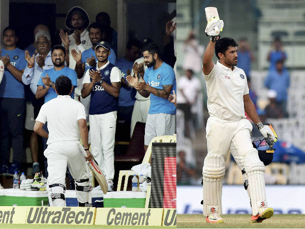 Left: Karun heads back to the pavilion after his triple ton as team-mates applaud. Right: Karun celebrates his 303 not out