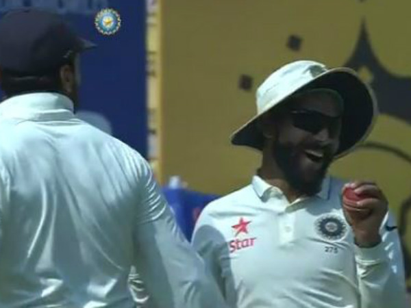 Ravindra Jadeja (right) celebrates after completing a stunning catch. Image from BCCI's video