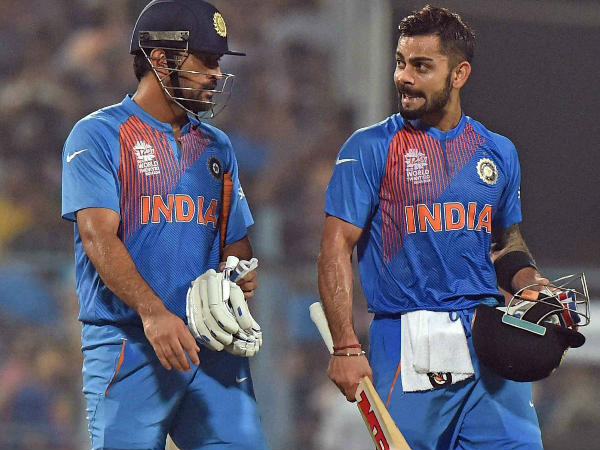 MS Dhoni (left) has quit captaincy and Virat Kohli will take over