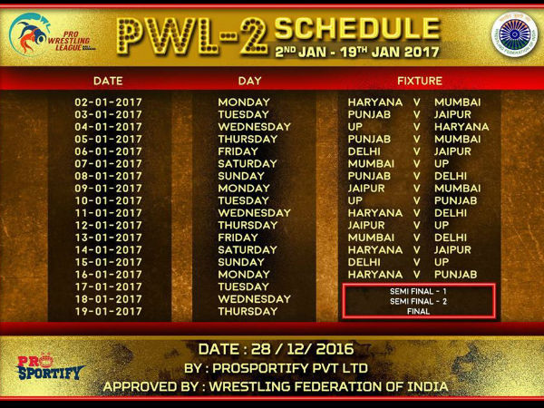Pro Wrestling League Season 2: Full schedule