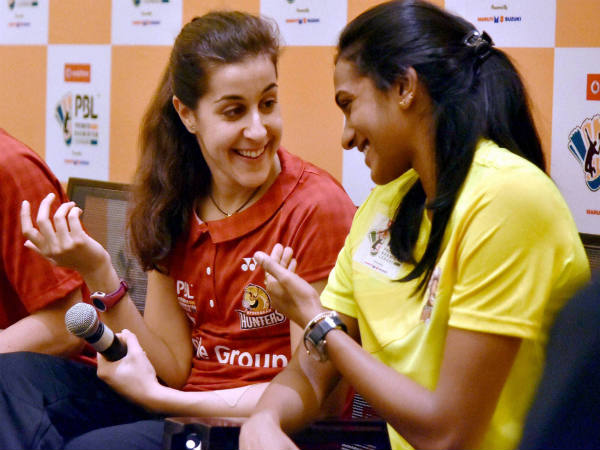 File photo: PV Sindhu (right) and Carolina Marin at PBL press conference