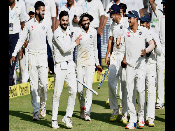 Indian players celebrate after winning the 4th Test against England in Mumbai recently