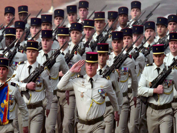 French soldiers march during Republic Day