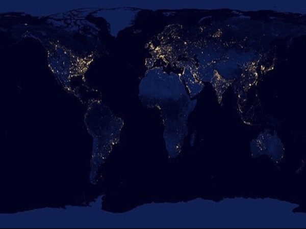 Composite image of world at night