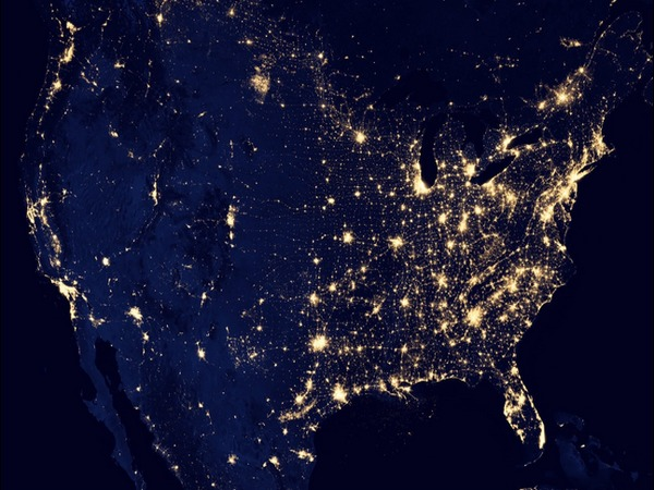 Continental United States at night
