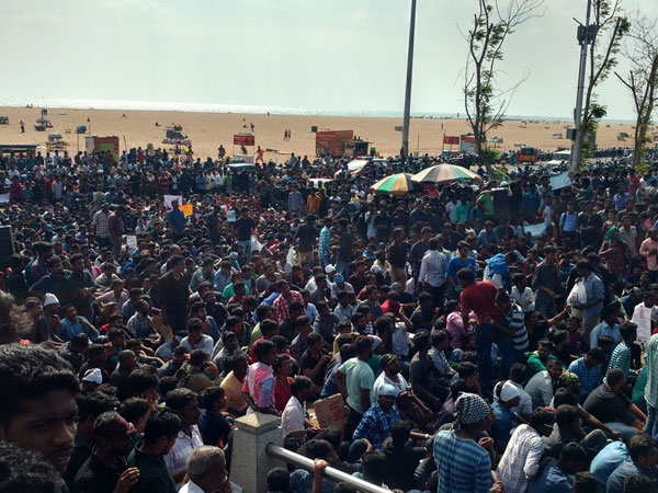 Protest at Marina beach