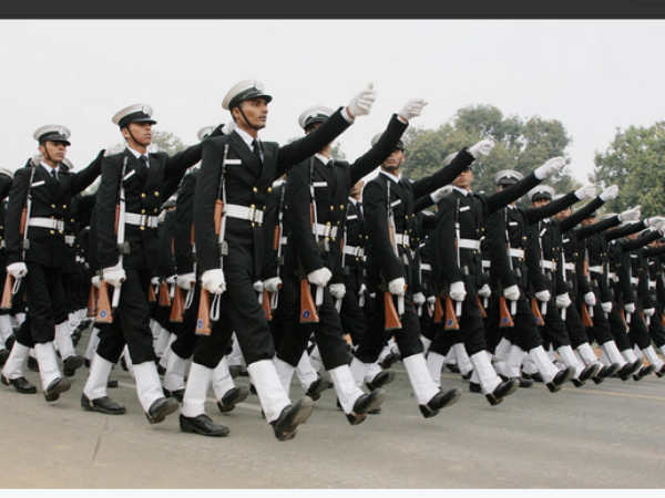 Indian Navy contigent rehearsing for Republic Day