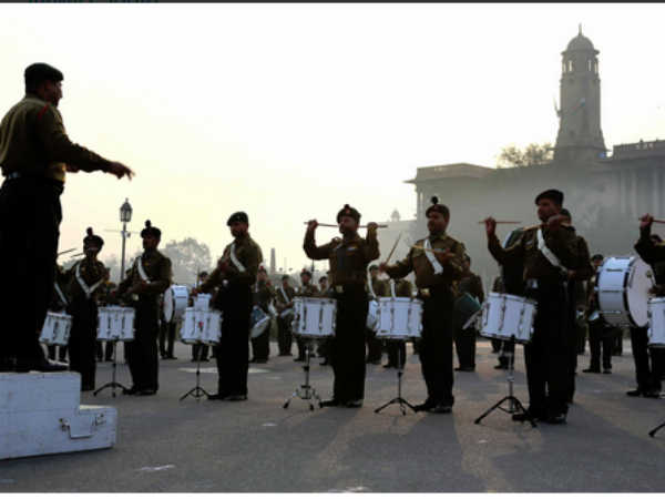 Armed forces practise for Beating Retreat