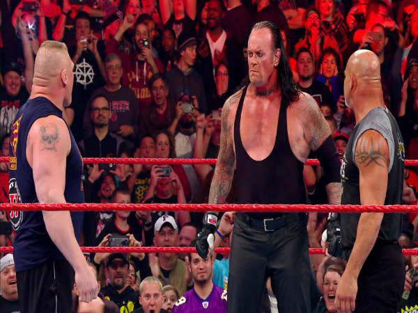 From left: Brock Lesnar, Undertaker and Goldberg (Image courtesy wwe.com)